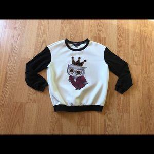 Anthropologie sweater monogram owl print white S